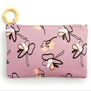 IPSY Pink Floral Cosmetic Bag with Wooden Pull